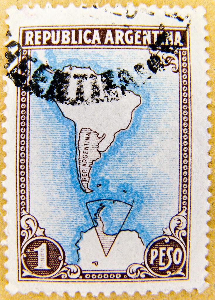 Beautiful Stamp Argentina 1p Peso 1951 Carta Geografica
