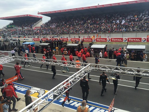 View from the Rebellion team lounge at Le Mans during the finish