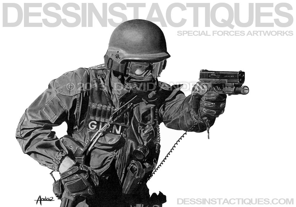DessinsTactiques - Dessin GIPN GLOCK 17 / www.dessinstacti