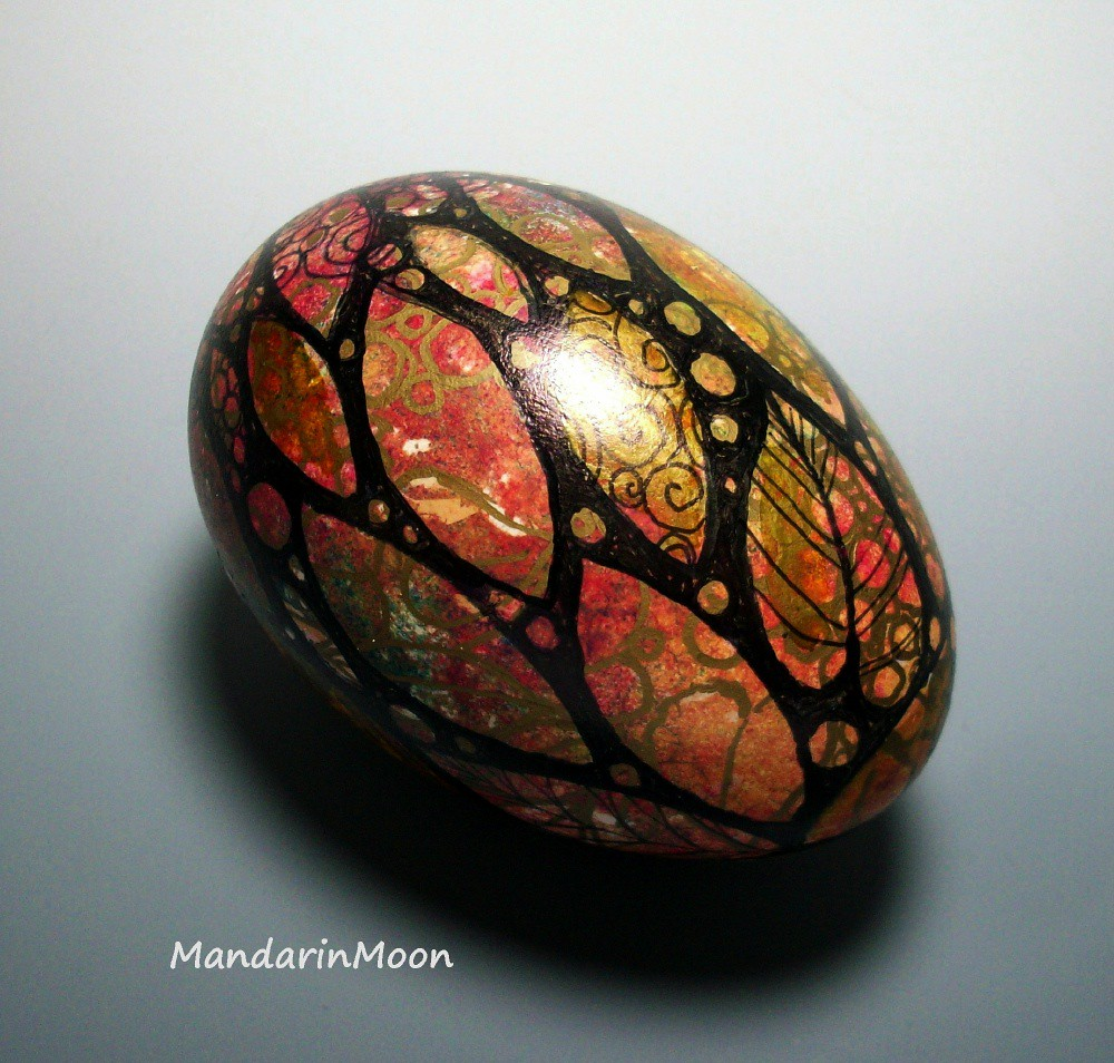 From Midnight To Duck Egg See: Handpainted Egg With Gold Leaf