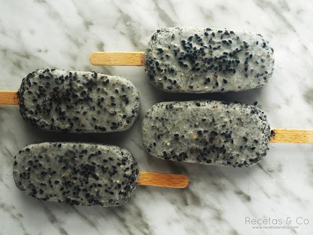 Receta vegana helado coco sésamo