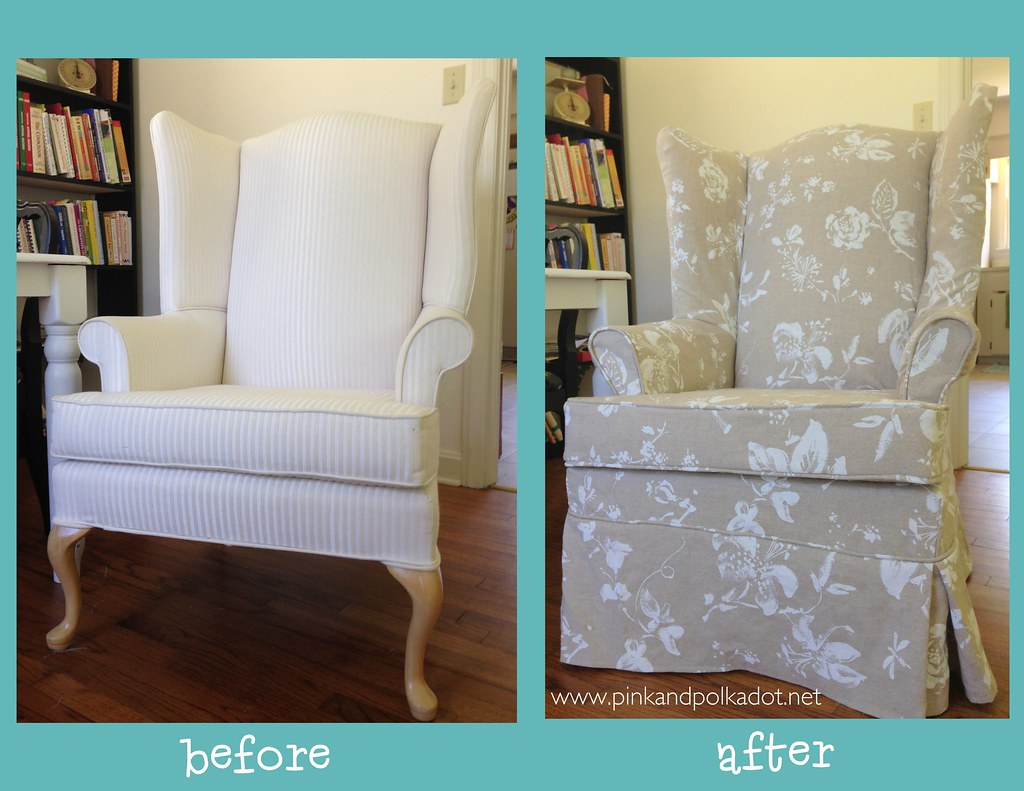 Before And After Wing Chair Slipcover | Gorgeous Heavy Linenu2026 | Flickr