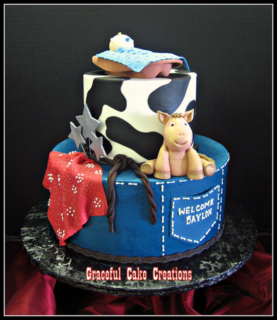 Western Themed Baby Shower Cake with Baby Cowboy and Pony