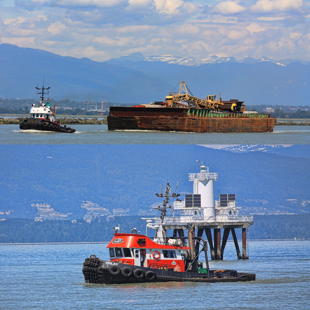 The Finlay Tug Hauling Equipment Down The Fraser Into The