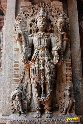 Relief sculpture of a Hindu deity on the outer walls of Keshava Temple, Somanathapura, Mysore district, Karnataka, India