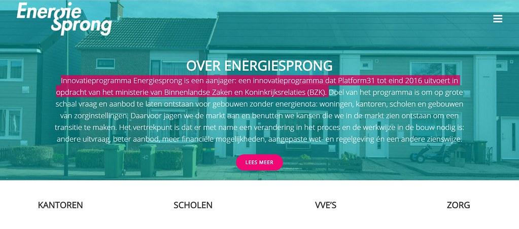 荷蘭Energiesprong計畫網頁。圖片擷取自網頁。