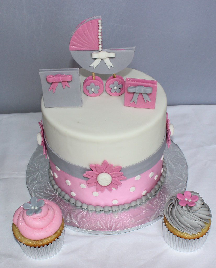 Pink and grey baby shower cake susmita929 flickr for Baby mobile pink and grey