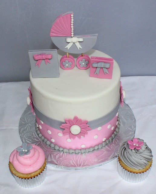 Pink and Grey baby shower cake