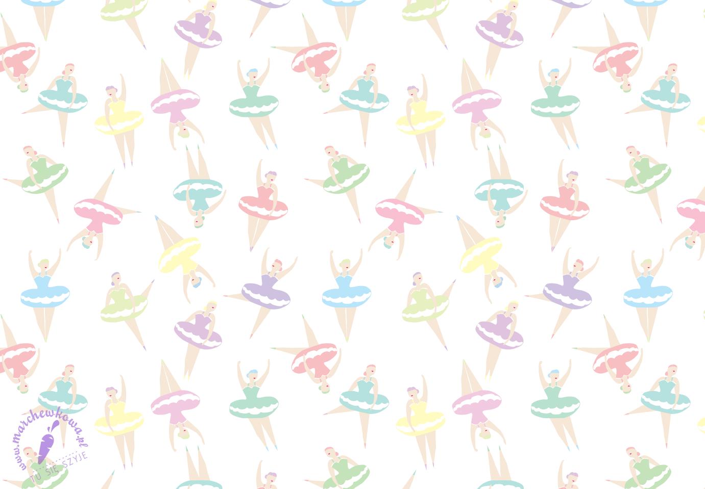 marchewkowa, grafika, nadruk, projekt tkaniny, wzór, print, baletnice, Ballerinas