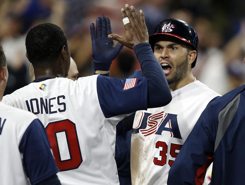 Eric Hosmer(35)與Adam Jones是美國贏球的重要功臣。(達志影像)
