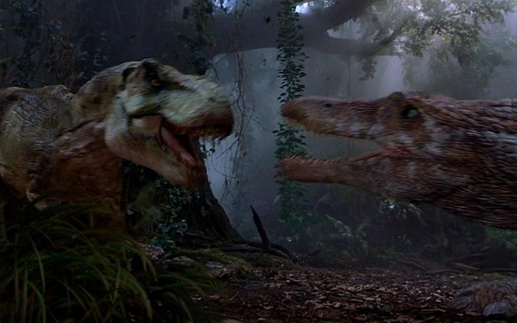 Tyrannosaurus Rex Fighting Spinosaurus Jurassic Park Iii