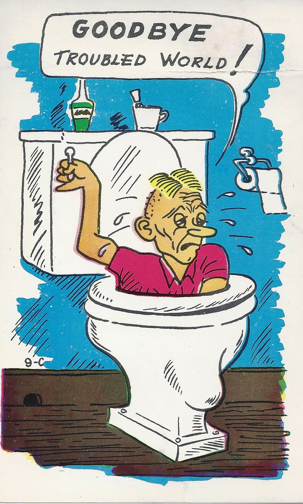 Cartoon, Funny, Comic, Comical, Suicide, Toilet, Flush, Go ...