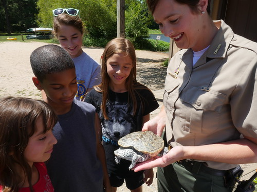 Kids and Park Ranger Looking at Turtle