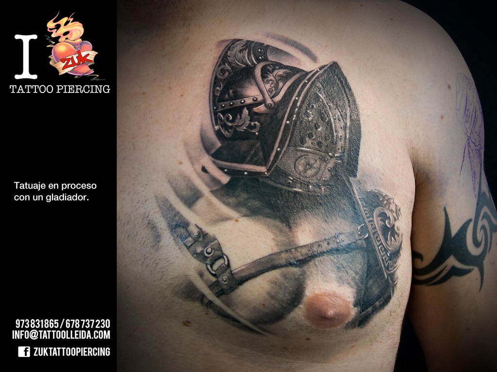 Tatuaje Gladiador Pecho Zuk Tatuaje De Yarda En Zuk Tattoo Flickr