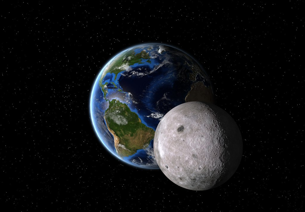 Earth And Moon   Done with PlanetMaker following some ...