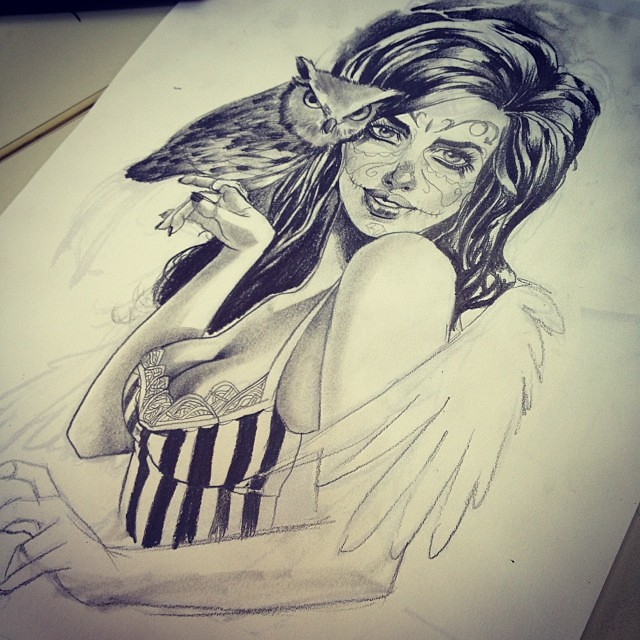 Owl Girl Drawing Girl Draw Drawing