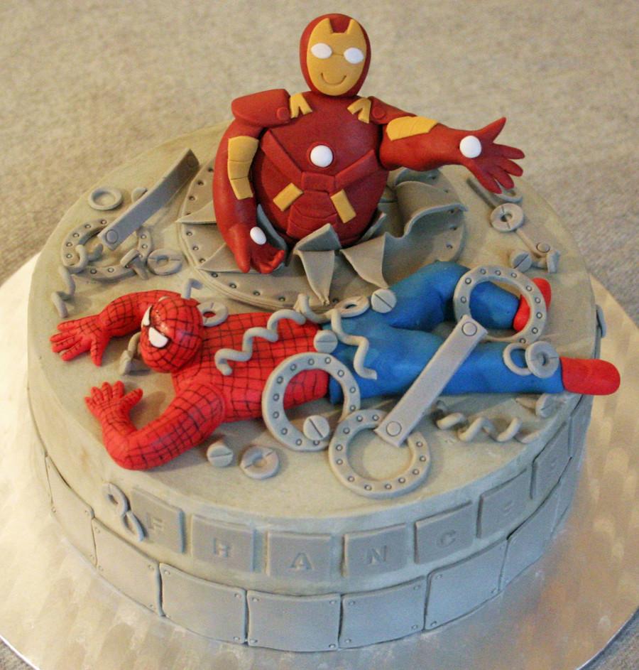 Iron Man and Spiderman Cake Torta di Iron Man e ...