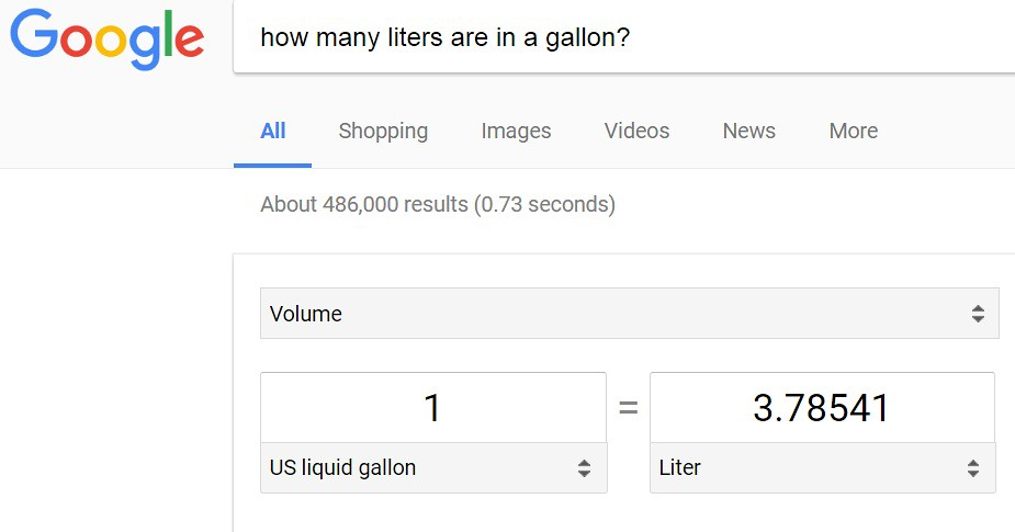 How many liters are in a gallon?