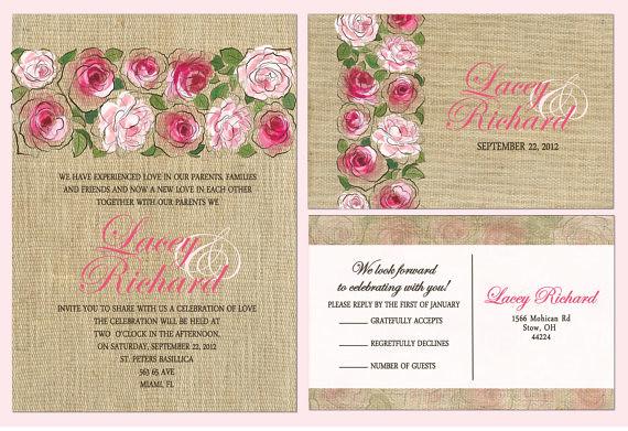 Budget burlap roses wedding invitation budget burlap for 3d rose wedding invitations