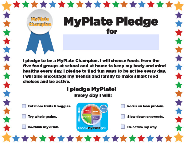 pledge kids who take the myplate champions pledge make a