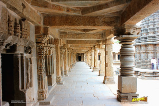 West Colonnade of the cloistered corridor at Keshava temple courtyard, Somanathapura, Mysore district, Karnataka, India