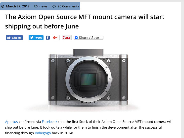 Axiom Open Source MFT mount camera - AVS Forum | Home