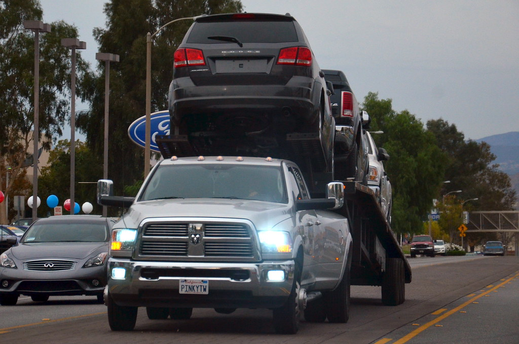 All Sizes Ram Dually Pickup Truck With 3 Car Trailer Hauler