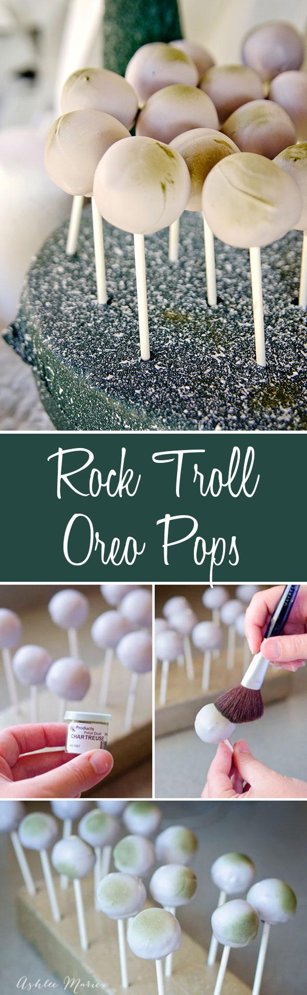 create oreo truffles that look like the rock trolls from Frozen