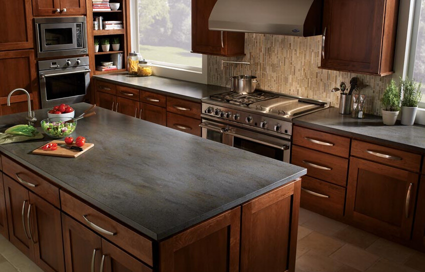 Custom Kitchen Island With Corian Countertop In Charcoal G
