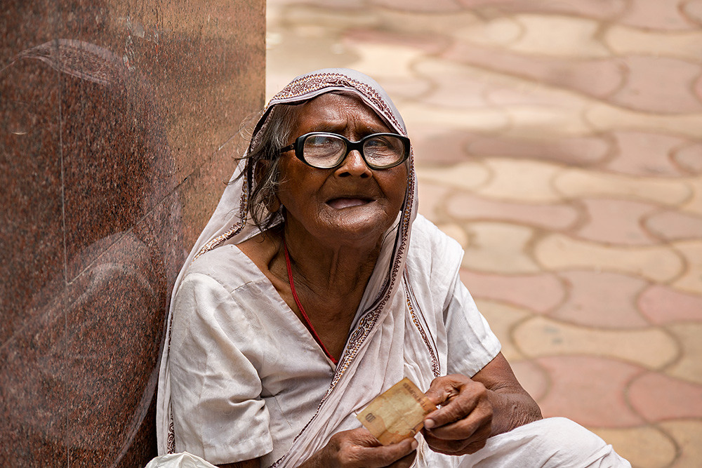 Portrait Of An Old Woman In The Streets Of Kolkata, India -1925