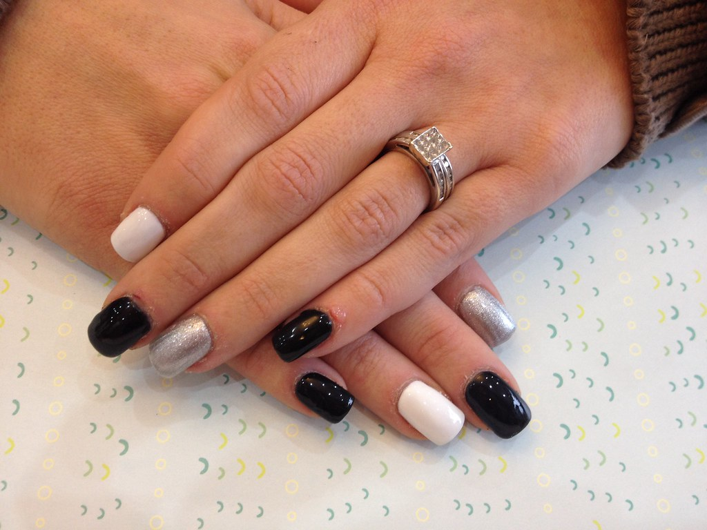 Black White And Silver Nails Nails With Black Silver