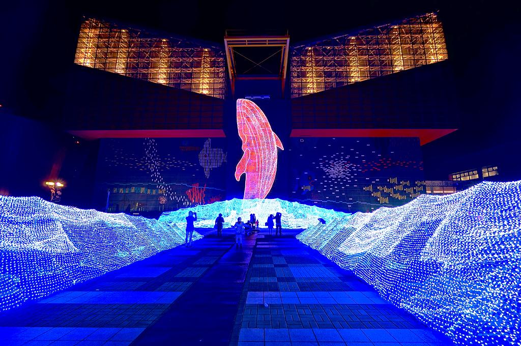 Holiday Illumination at Osaka Aquarium Kaiyukan (海遊館) in O ...