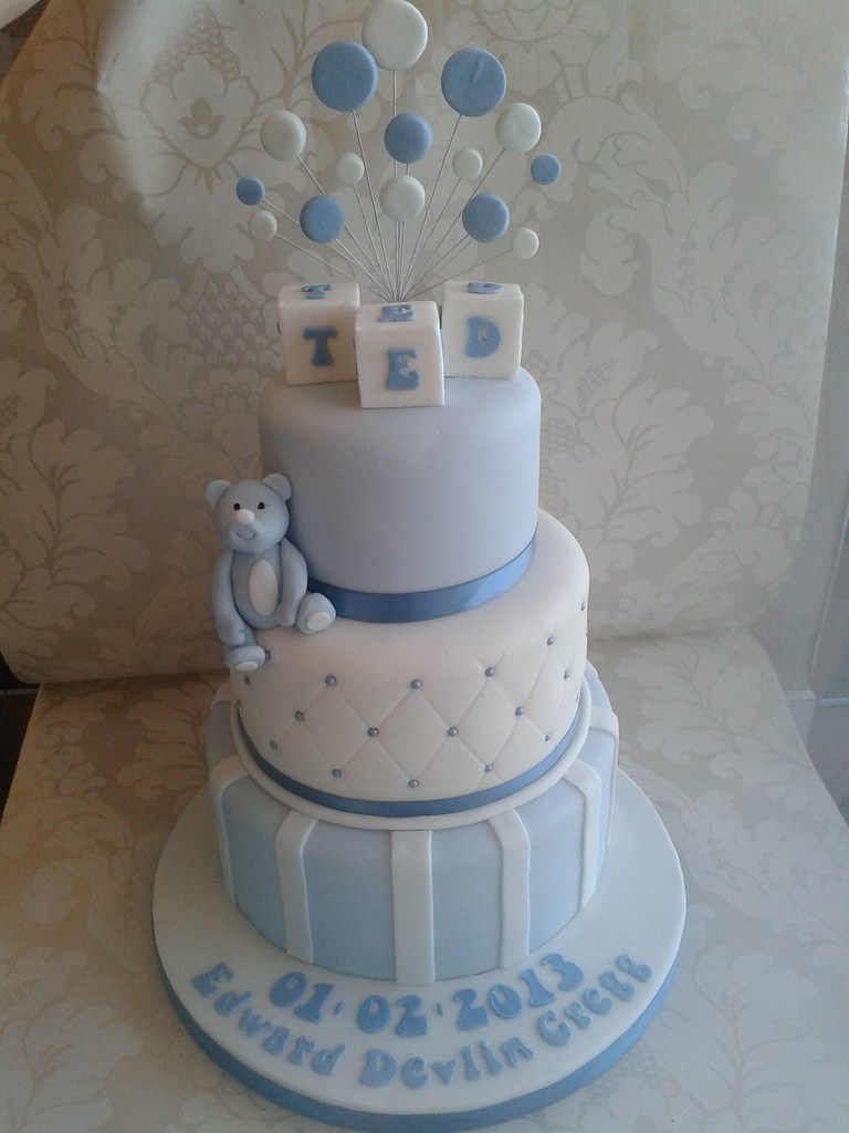 3 Tier Boys Christening Cake Www Creationsbypaulajane Co