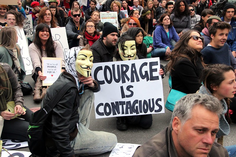 Courage is Contagious, Anonymous - Refugee Action protest 27 July 2013 Melbourne