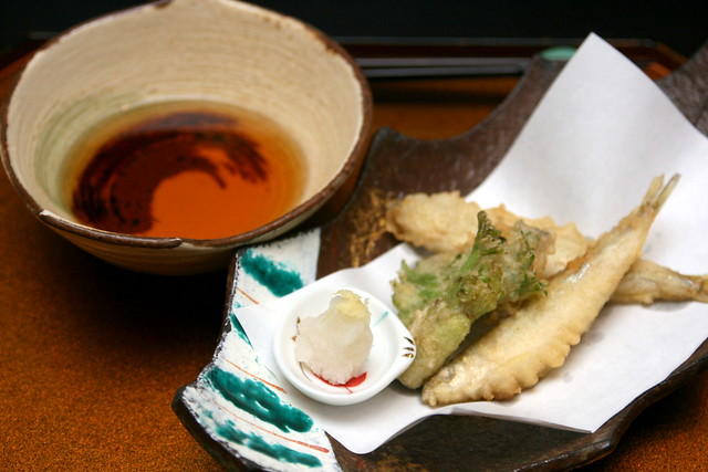 "Deep-fried dish: Tempura mild cod roe with Shiso leaves, Japanese smelt fish and ""Taranome"" with light bonito soy sauce"