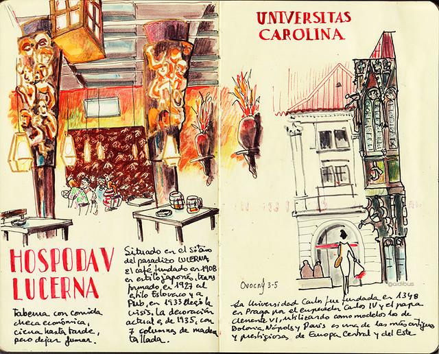 Hospoda V Lucerna y Universidad de Carlos.