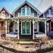 Fisheye of Martha's Vineyard's gingerbread houses in Oak Bluffs