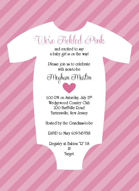 Tickled Pink Baby Onsie Shower Invitation This Invitation Flickr