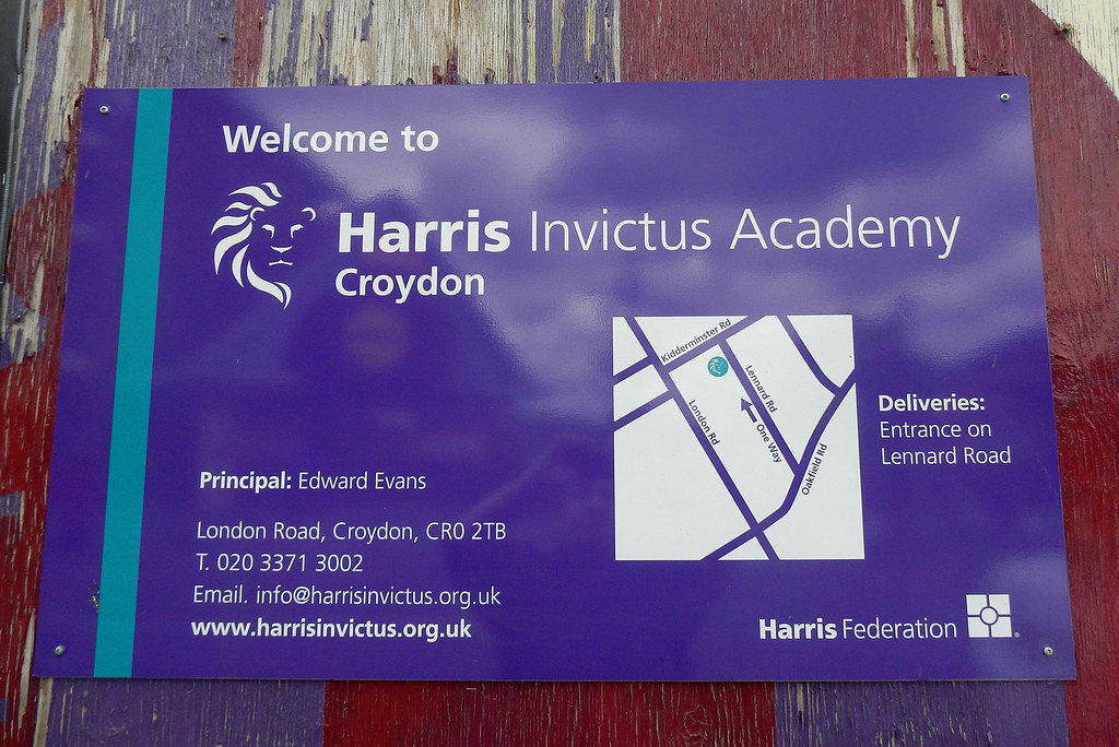 Harris Invictus Academy Sign On The London Road