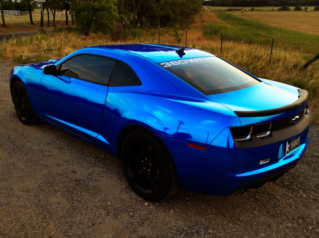 360 blue Chrome Camaro | 360 Wraps Camaro, car is silver ...