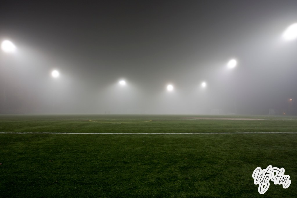 Seattle December 2013 7; Foggy Night Park Soccer Field Sil ...