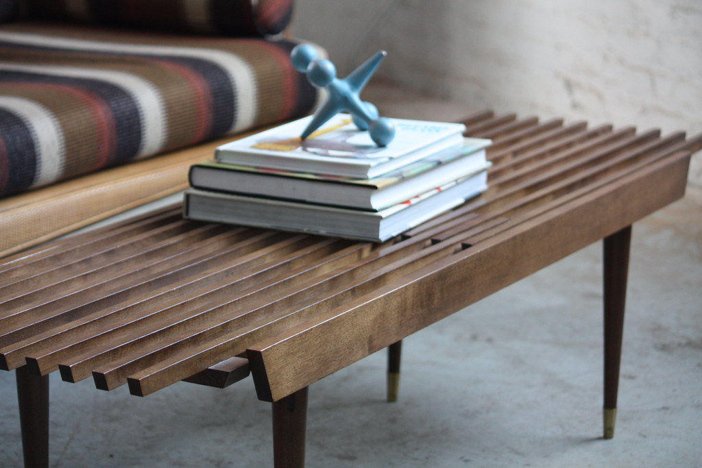 Appealing Mid Century Modern Expanding Slat Bench Coffee T Flickr
