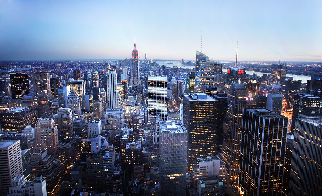 New york city skyline at blue hour from the top of the roc for The best of nyc
