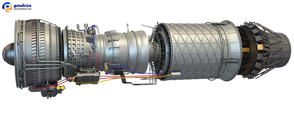 F100 Afterburning Turbofan Engine 3d Model F100