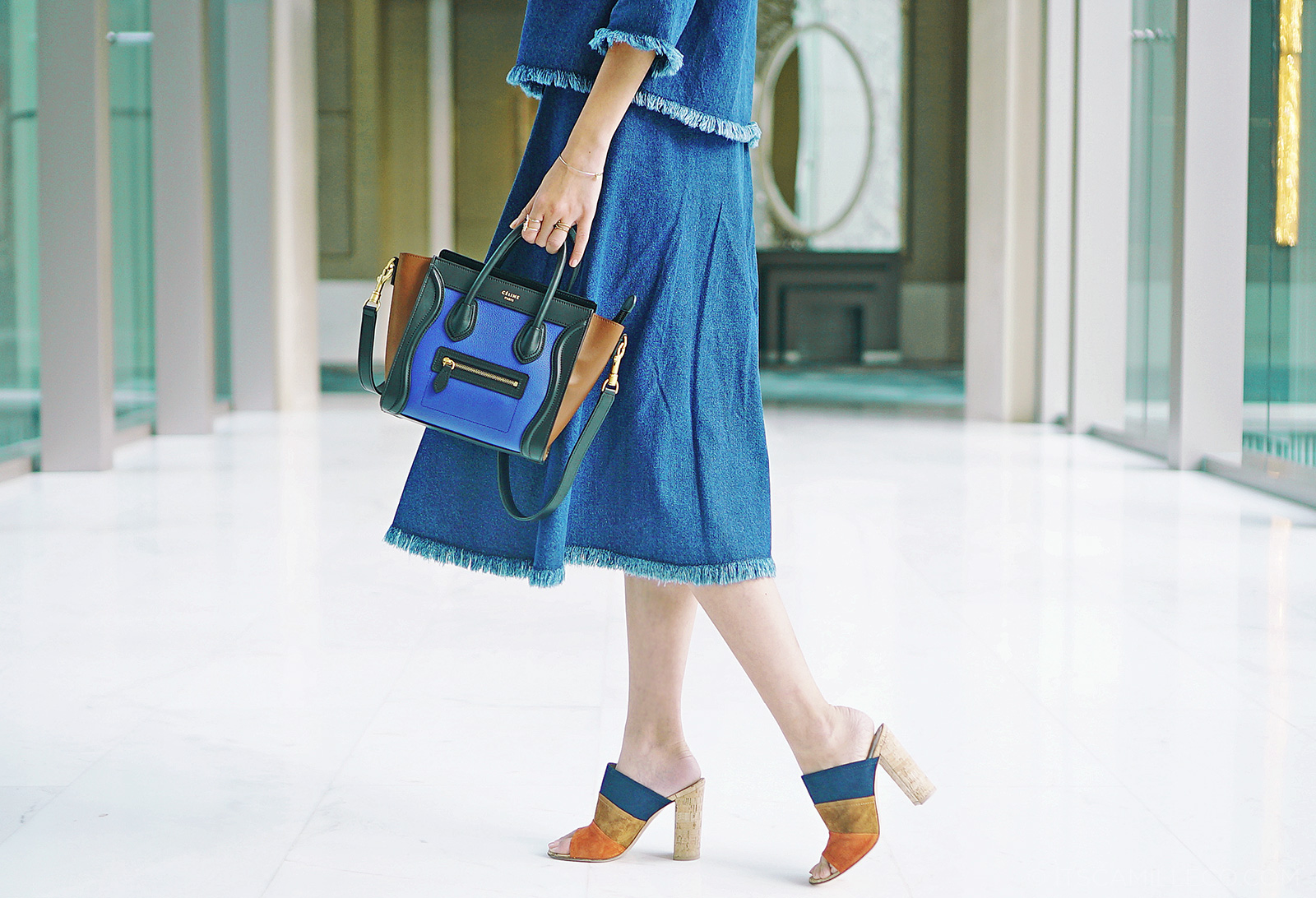 J Runway Denim Coordinates, Gianvito Rossi Mules, Céline luggage nano, Camille Co in denim on denim