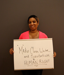 Young woman calling for clean water and sanitation as a human right during the thematic consultation on Environmental Sustainability | by The World We Want 2015