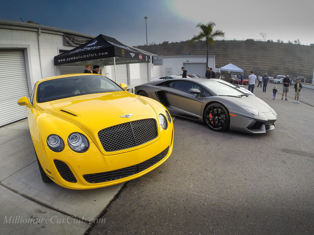 Coffee And Cars >> Yellow Bentley Continental GT and Lamborghini Aventador ...