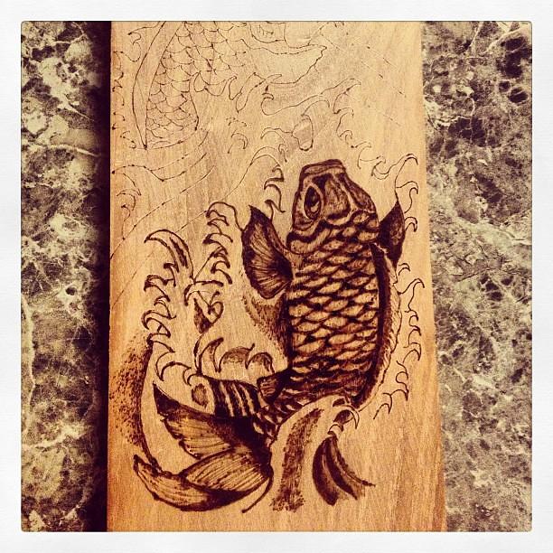 First Attempt At Wood Burning Art Koi Fish Michael F