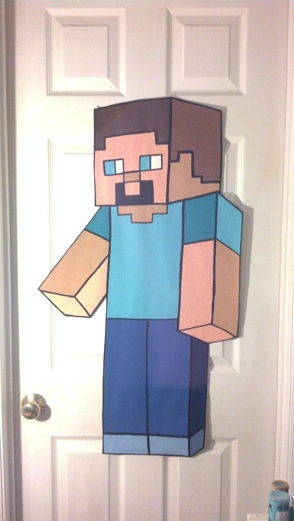 Extra Large Steve Minecraft Wallpaper Mural Hand Painted B