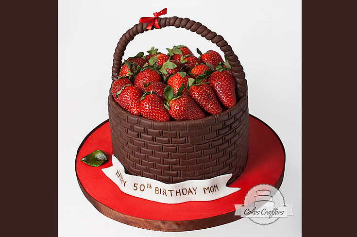 Strawberry Basket Cake | For a 50th birthday. | Cakes Crafters (www ...